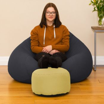 Bigger Better Comfy Round Custard Footstool