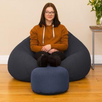 Bigger Better Comfy Round Denim Blue Footstool