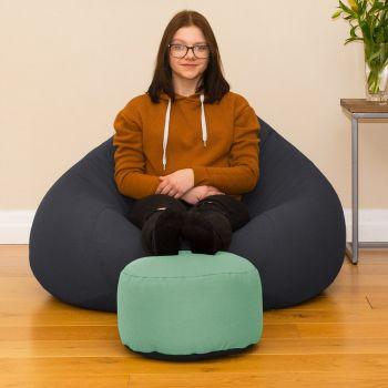 Duck Egg Bigger Better Round Footstool Beanbag