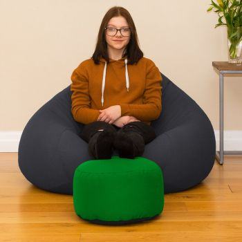 Bigger Better Comfy Round Emerald Green Footstool