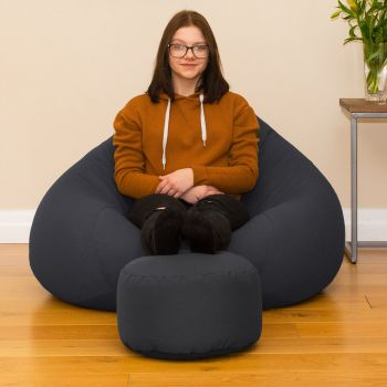 Bigger Better Comfy Round Grey Footstool