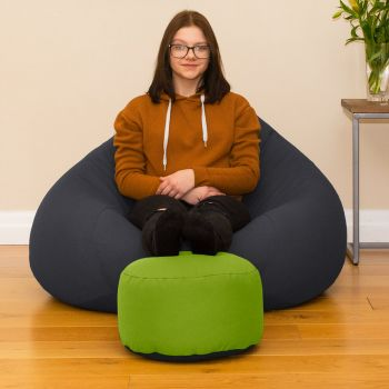 Bigger Better Comfy Round Lime Green Footstool