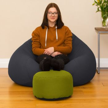Bigger Better Comfy Round Navy Footstool