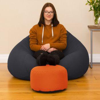 Bigger Better Comfy Round Orange Footstool
