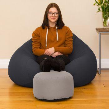 Bigger Better Comfy Round Platinum Footstool