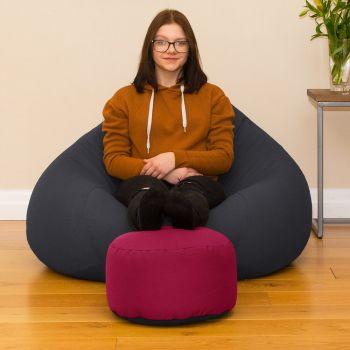 Bigger Better Comfy Round Cerise Pink Footstool