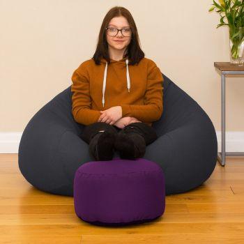 Bigger Better Comfy Round Purple Footstool