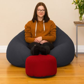 Bigger Better Comfy Round Red Footstool