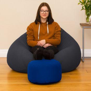 Bigger Better Comfy Round Royal Blue Footstool