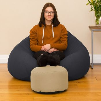 Stone Bigger Better Round Footstool Beanbag