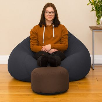 Bigger Better Comfy Round Taupe Footstool