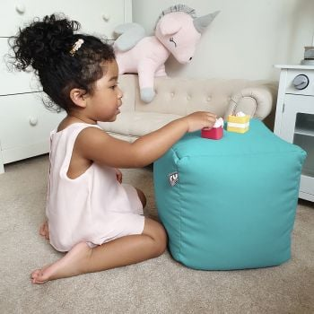 Kids Cube Beanbag - Trend In Aquamarine