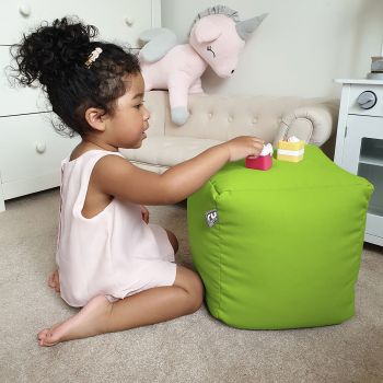 Kids Cube Beanbag - Trend In Lime Green