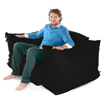 Modular Corner Sofa Black Bean bags - 3pc 1 Seater Set