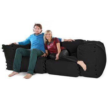 Modular Corner Sofa Black Bean bags - 4pc 2 Seater Set