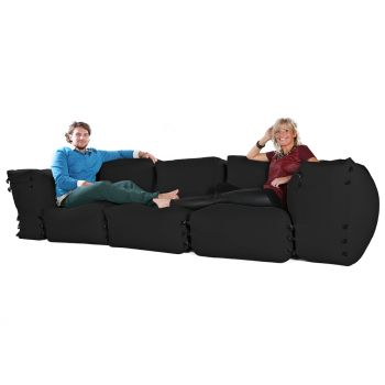 Modular Corner Sofa Black Bean bags - 5pc 3 Seater Set