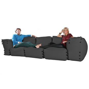 Modular Corner Sofa Grey Bean bags - 5pc 3 Seater Set