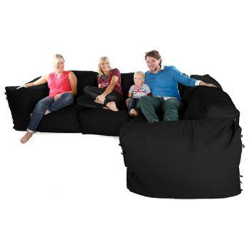 Modular Corner Sofa Black Bean bags - 7pc Deluxe Corner Set