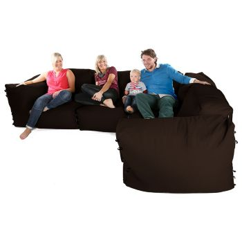 Modular Corner Sofa Brown Bean bags - 7pc Deluxe Corner Set
