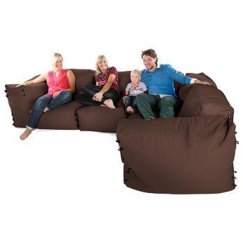 Modular Corner Sofa Bean bags - 7pc Deluxe Corner Set