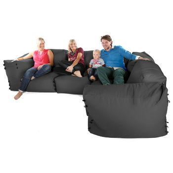 Modular Corner Sofa Grey Bean bags - 7pc Deluxe Corner Set