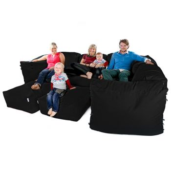 Modular Corner Sofa Black Bean bags - 9pc Luxury Set