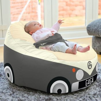 Iconic Campervan Gaga + Baby to Junior Beanbag In Charcoal