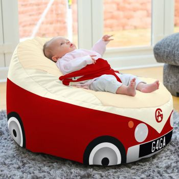 Iconic Campervan Gaga + Baby to Junior Beanbag In Red