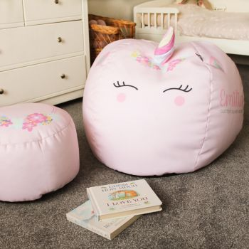 3D Kids Unicorn Beanbag - Small Baby Pink