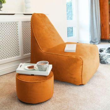 Velvet Raja Bean bag Chair in Burnt Orange