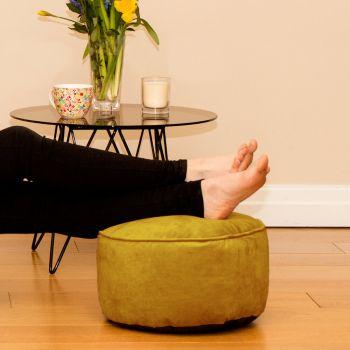 Mustard Velvet Bigger Better Footstool Beanbag