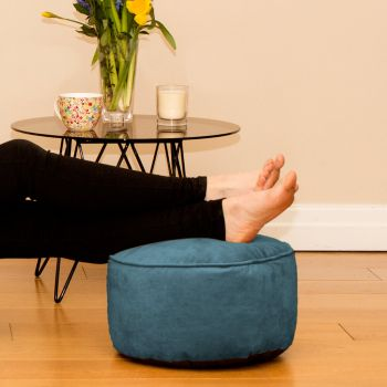 Teal Velvet Bigger Better Footstool Beanbag
