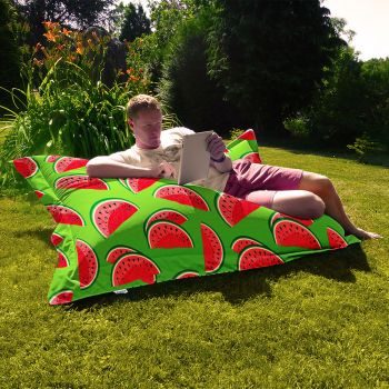 Junior Lime Green Watermelon Indoor/Outdoor Summer Squashy Squarbie Outdoor Beanbags