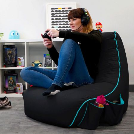 Black rugame Gamer Bean Bag Chair - Turquoise