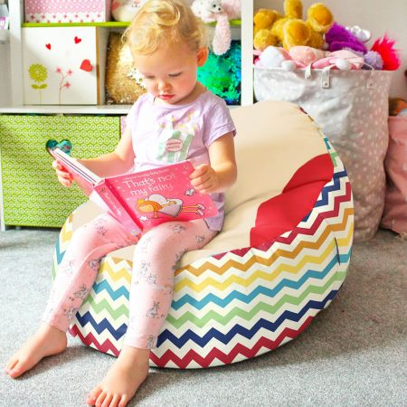 Rainbow Chevron Gaga Plus Baby to Junior Beanbag