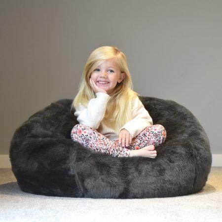 Mini-Slouch Kids Beanbag - Faux Fur - Slate Grey
