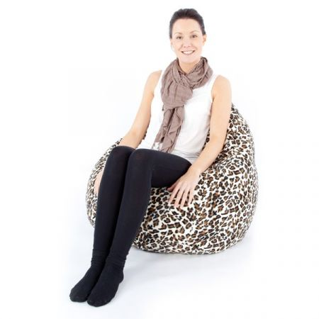 Luxury Faux Suede Animal Print Large Classic Beanbag