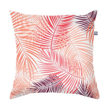 Pink Tropical Leaf Cushion - Indoor/Outdoor