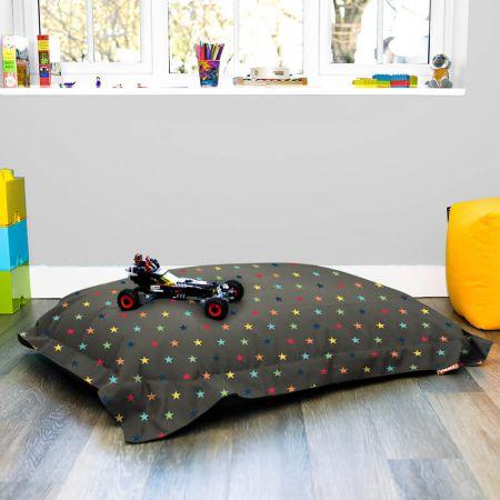 Rainbow Stars Squarbie Bean Bag in Charcoal Grey