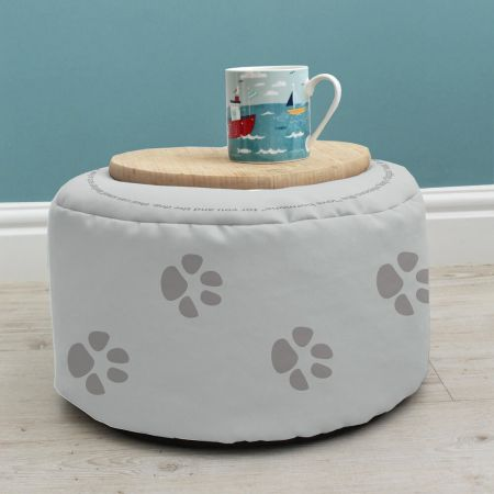 Dog Kids Beanbag Stool used as a table