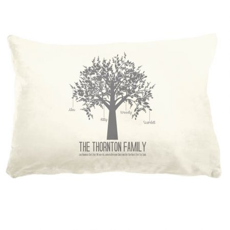 Faux Sueded Personalised Family Tree Cushion