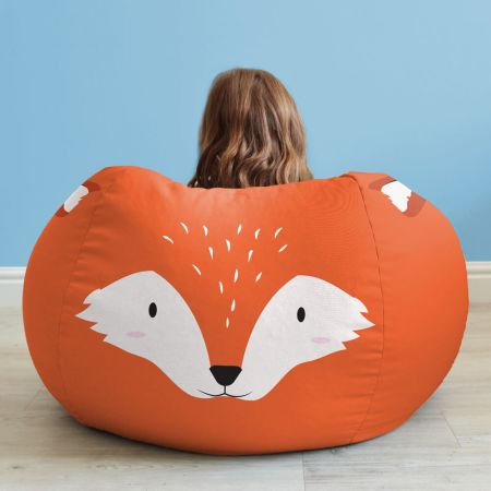 Kids Fox Animal Bean Bag - Face