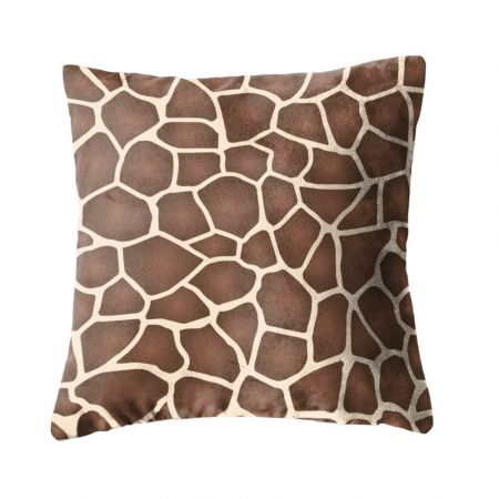 Faux Suede Giraffe Print Cushion Front View