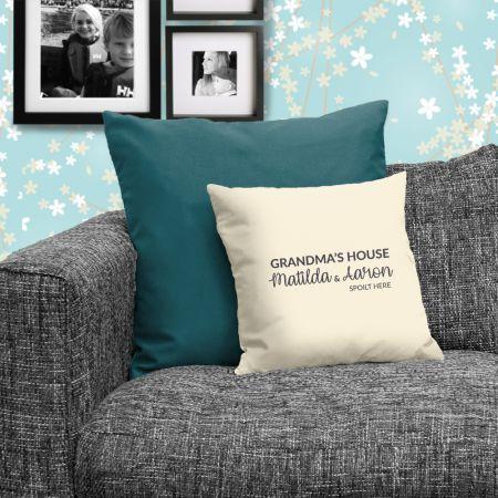 Spoilt at Grandma's House Personalised Cushion