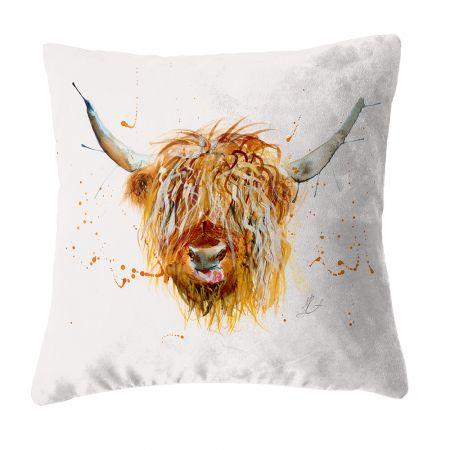 Highland Cow Faux Suede Cushion