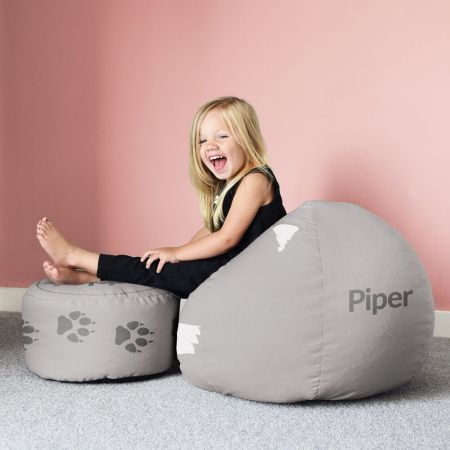 Wolf Beanbag and Kids Footstool Set - Small