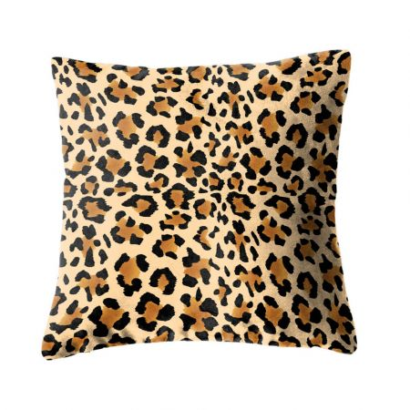 Faux suede leopard print cushion