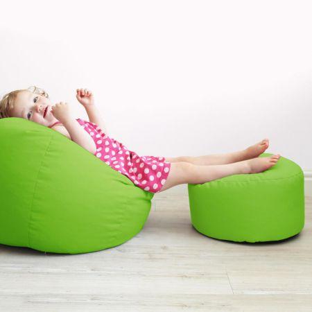 Kids beanbag stool in Lime Green