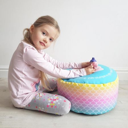 Mermaid Ombre Kids Beanbag Stool