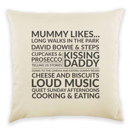 Mummy Likes 40X40cm Cushion in Cream & Charcoal